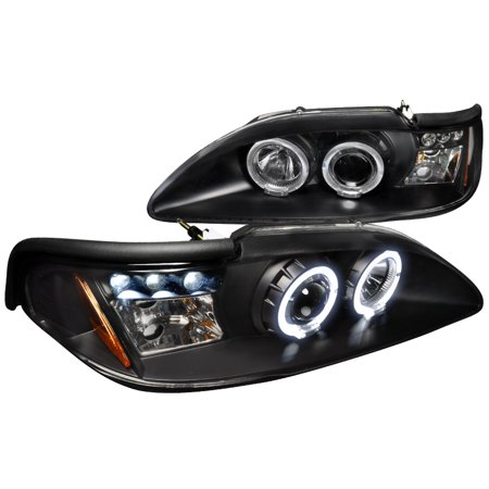 Spec D Tuning 1994 1998 Ford Mustang Led Projector Headlights Black 94 95 96 97 98 Left Right