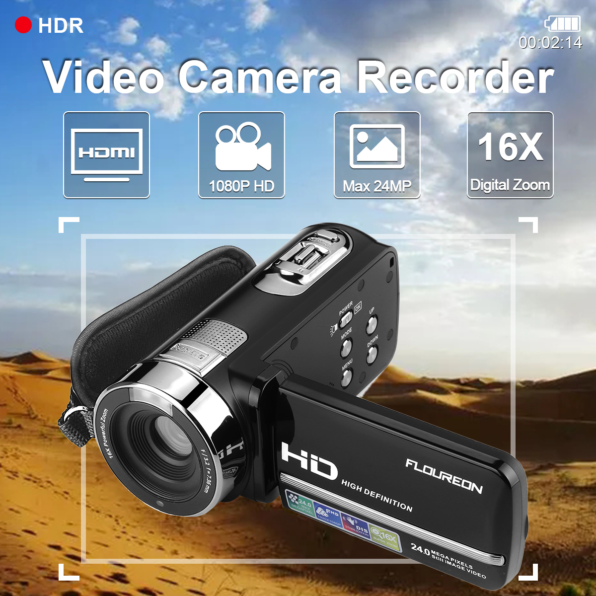 FLOUREON 1080P FULL HD Camcorder Digital Video Camera DV 3.0 TFT LCD Screen 16x Zoom 270 Degrees Rotation for Sport/Youtube/Short Films Video Recording (Black)
