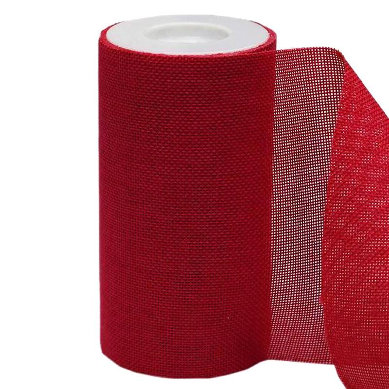"6""x10 Yards Red Polyester Fine Rustic Burlap Jute Roll For Wedding Party Decorations"