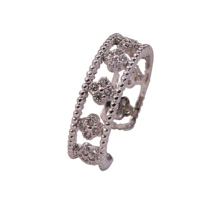 - Adjustable Wide Filigree Design Ring With Pave Clovers And Cut-Out Silhouette Of Floral Patterns Set In Sterling Silver
