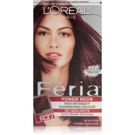 L'Oreal Paris Feria Power Reds High-Intensity Shimmering Colour, Blowout Burgundy [R37] (Warmer) 1 ea (Pack of 3)