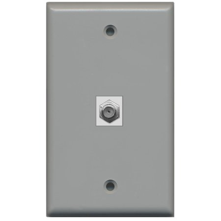 RiteAV Coax Cable TV Wall Plate 1 Gang Flat - Gray