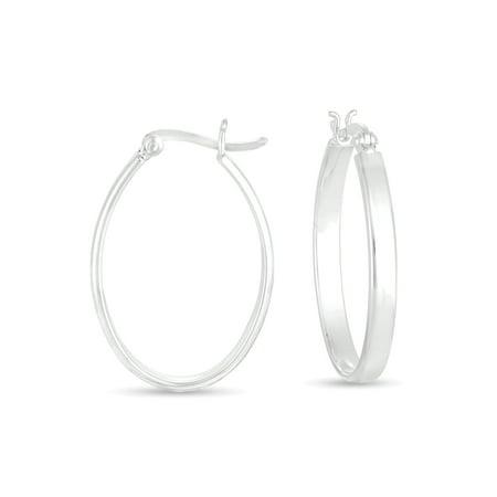 Sterling Silver Oval Hoop - Sterling Silver Oval Hook Earrings