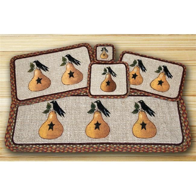 Earth Rugs 87-300PC Wicker Weave Table Runner Rug, Pear & Crow