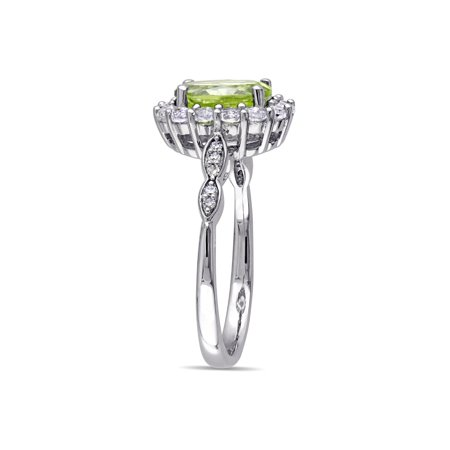 Peridot and White Topaz Fashion Ring 2 Carat (ctw) with Diamonds in 14K White Gold - image 2 of 4
