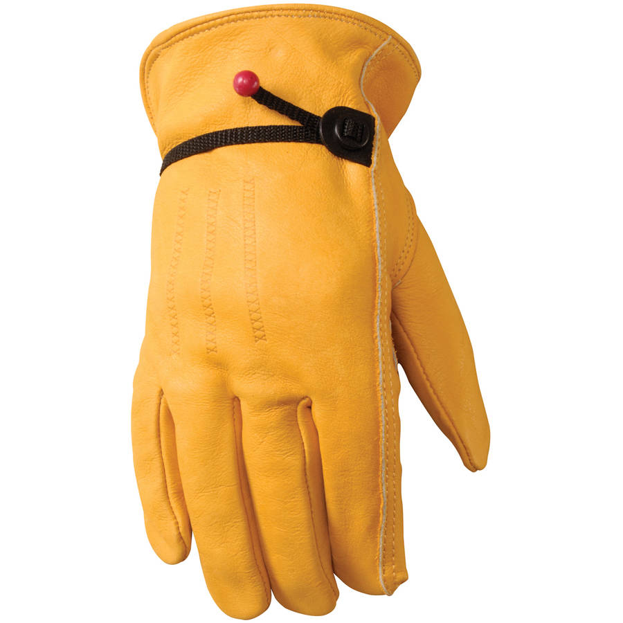 Wells Lamont Full Grain Cowhide Leather Work Gloves with Ball and Tape Adjustable Wrist Closure, X-large, Saddletan