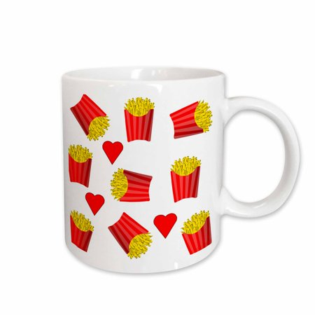 3dRose Image of Boxes Of French Fries Repeat Pattern - Ceramic Mug, (Best Way To Reheat French Fries In Microwave)