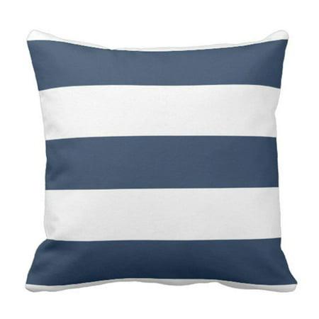 Bowser Stripe - ARTJIA Stripes Designer Nautical Navy Blue and White Bolster Pillowcase Cover 20x20 inch