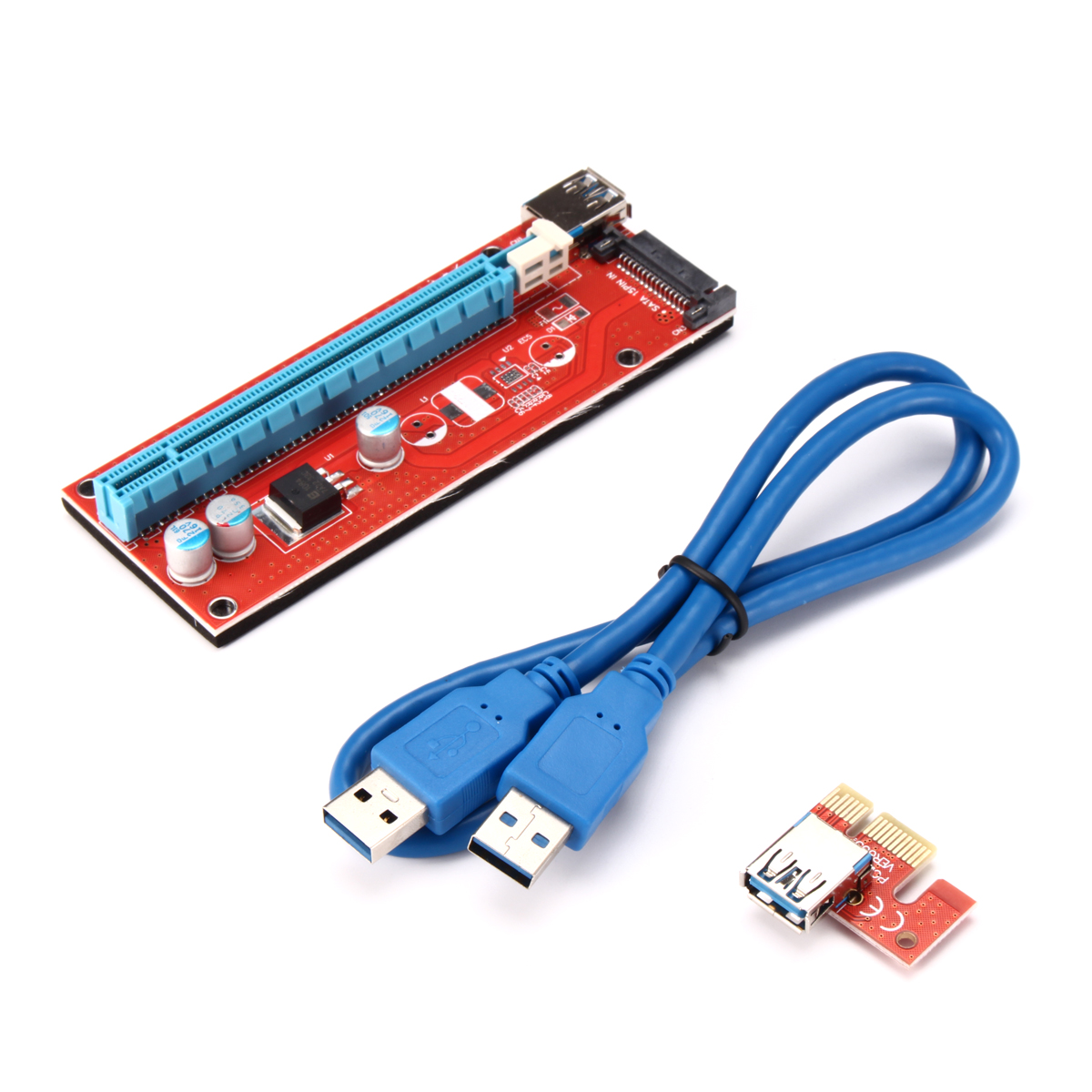 Mining 3.0 PCI-E 1x to 16x Extender Board Riser Card Adapter GPU Cable SATA