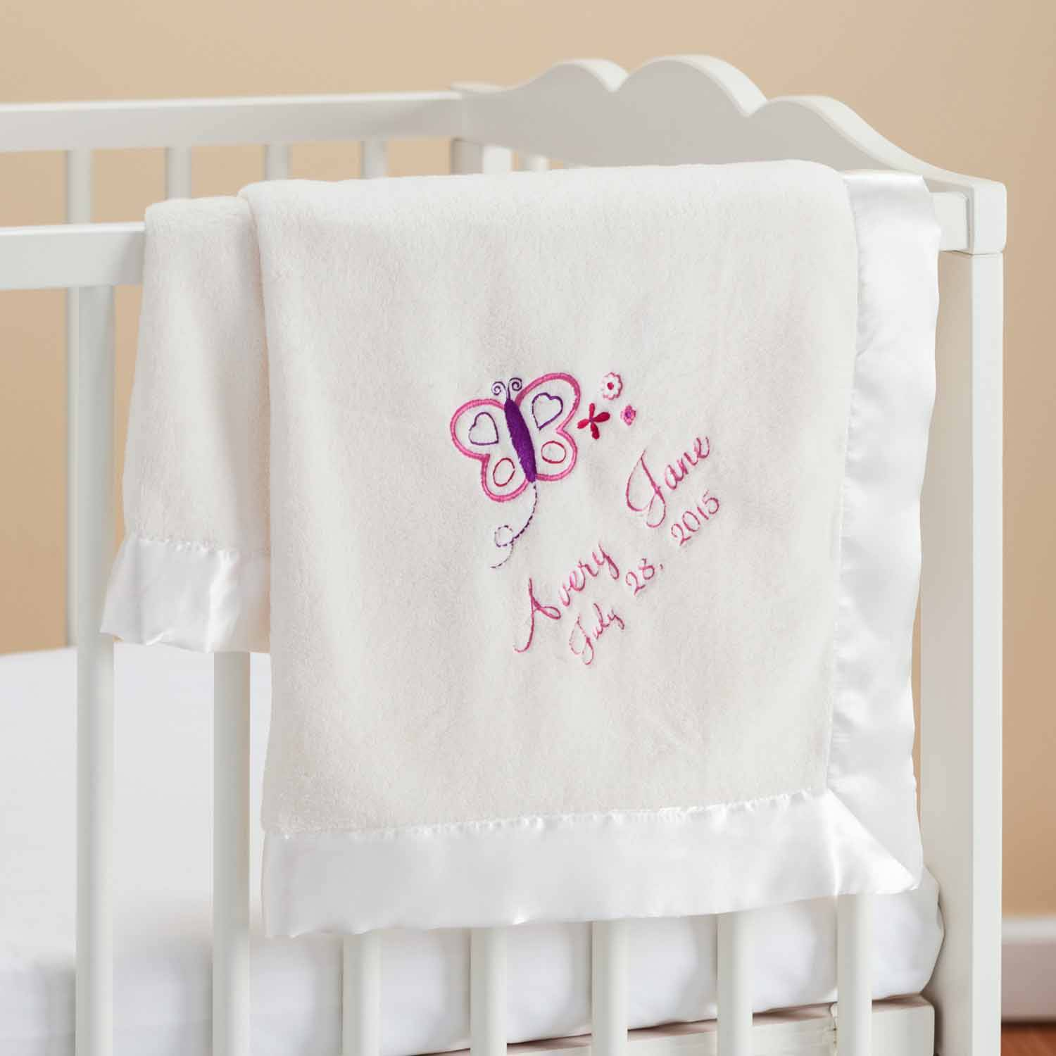 Personalized Pretty Butterfly Cream Baby Blanket
