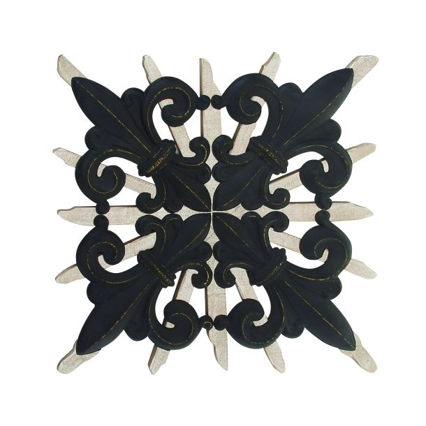 Decmode Traditional 58 X 58 Inch Metal And Wood Fleur De Lis Wall