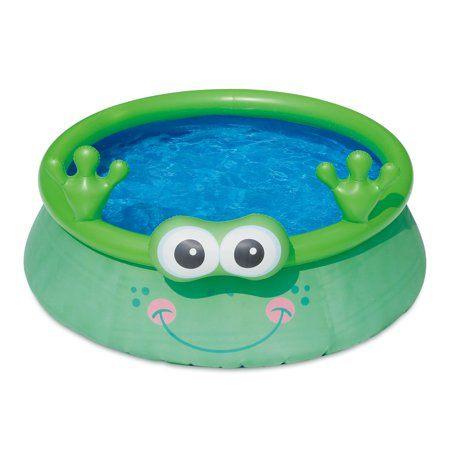 Summer Waves Inflatable 6 Foot Frog Character Quick Set Swimming Pool, Green