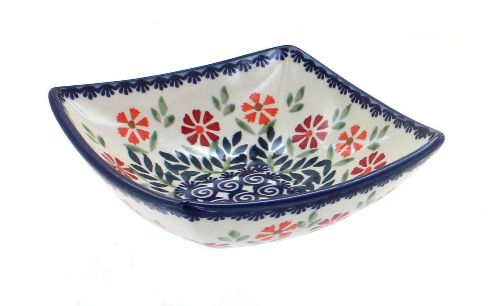 Mosaic Flower Egg Cup Set Polish Pottery