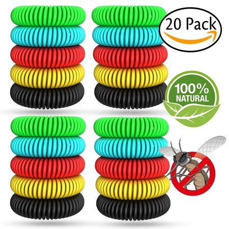 Natural Mosquito Repellent Bracelets 20 pack and 6 patch Waterproof Bug Insect Protection up to 300 Hours No Deet Pest Control for Kids (Natrapel Bug Protection)