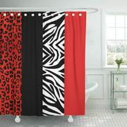 CYNLON Cheetah Red Leopard and Zebra Black Cute Pretty Bathroom Decor Bath Shower Curtain 60x72 inch