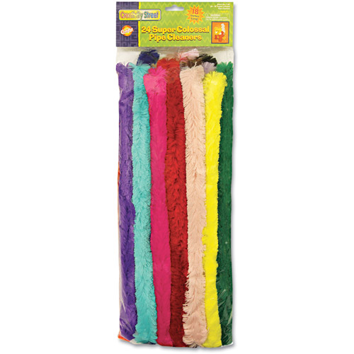"Chenille Kraft Super Colossal Pipe Cleaners, 18"" x 1"", Metal Wire, Polyester, Assorted, 24/Pack"
