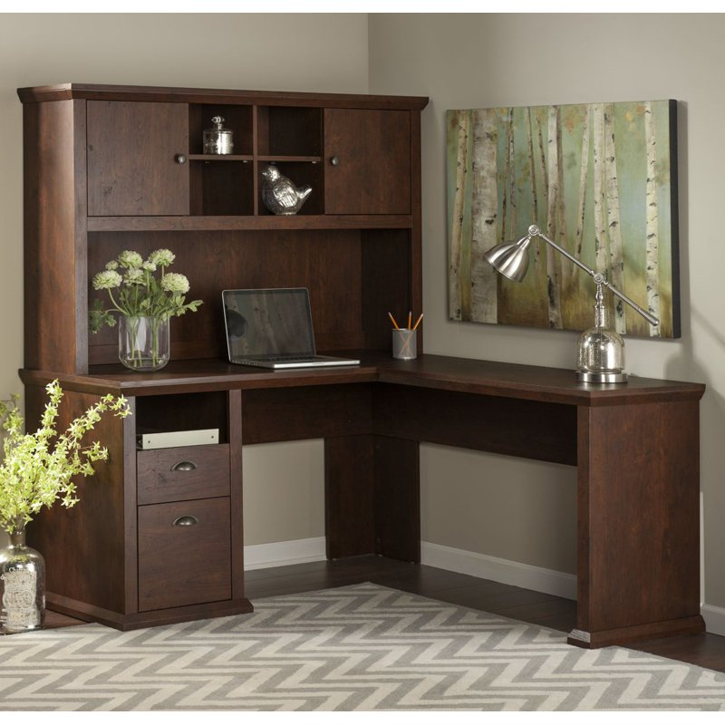 Bush Furniture Yorktown L-Shaped Desk with Optional Hutch