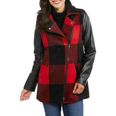 Maxwell Studio Women's Buffalo Plaid Faux Wool Coat With Faux Leather Sleeves