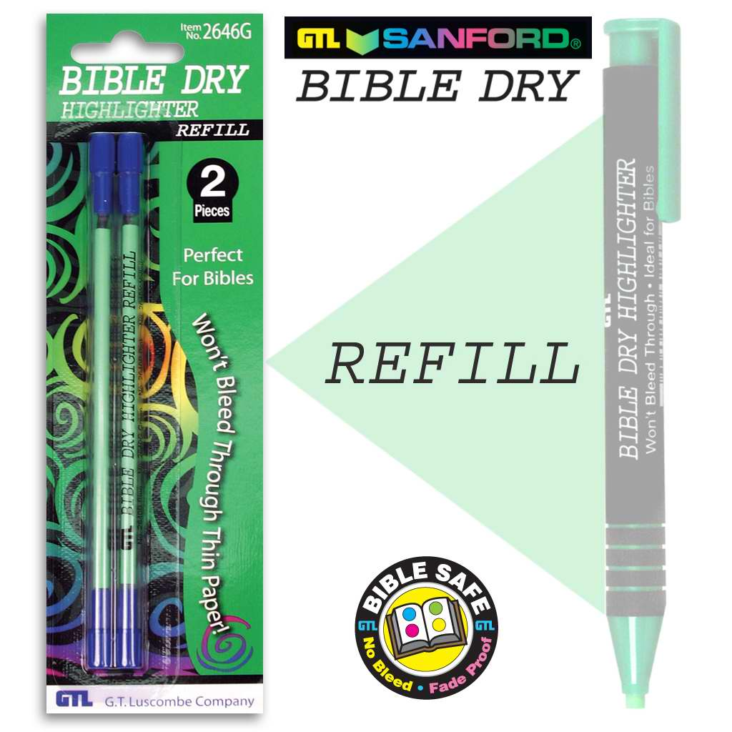 Highlighter-Bible Dry-Green Refill (Pack of 2) (Bx/6)