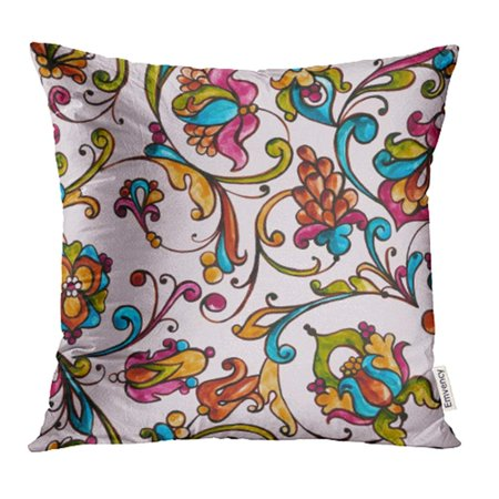 YWOTA Monogram Watercolor Italian Majolica on the in Yellow Orange and Cobalt Colors Pillow Cases Cushion Cover 20x20 inch