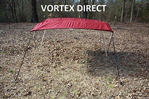 "DARK BURGUNDY, MAROON (ACRYLIC) VORTEX STAINLESS STEEL FRAME 4 BOW PONTOON DECK BOAT BIMINI TOP 10' LONG, 91-96""... by VORTEX DIRECT"