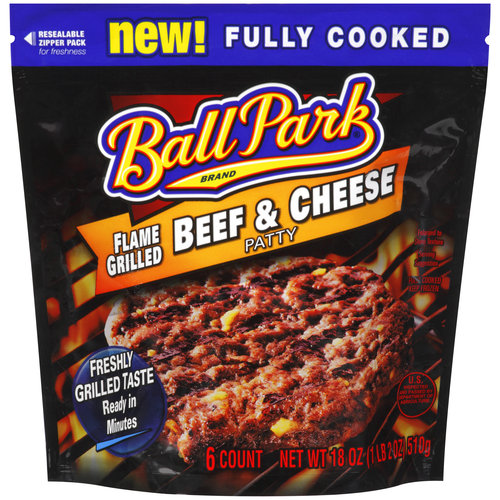 Ball Park Brand Flame Grilled Beef & Cheese Patties, 6ct