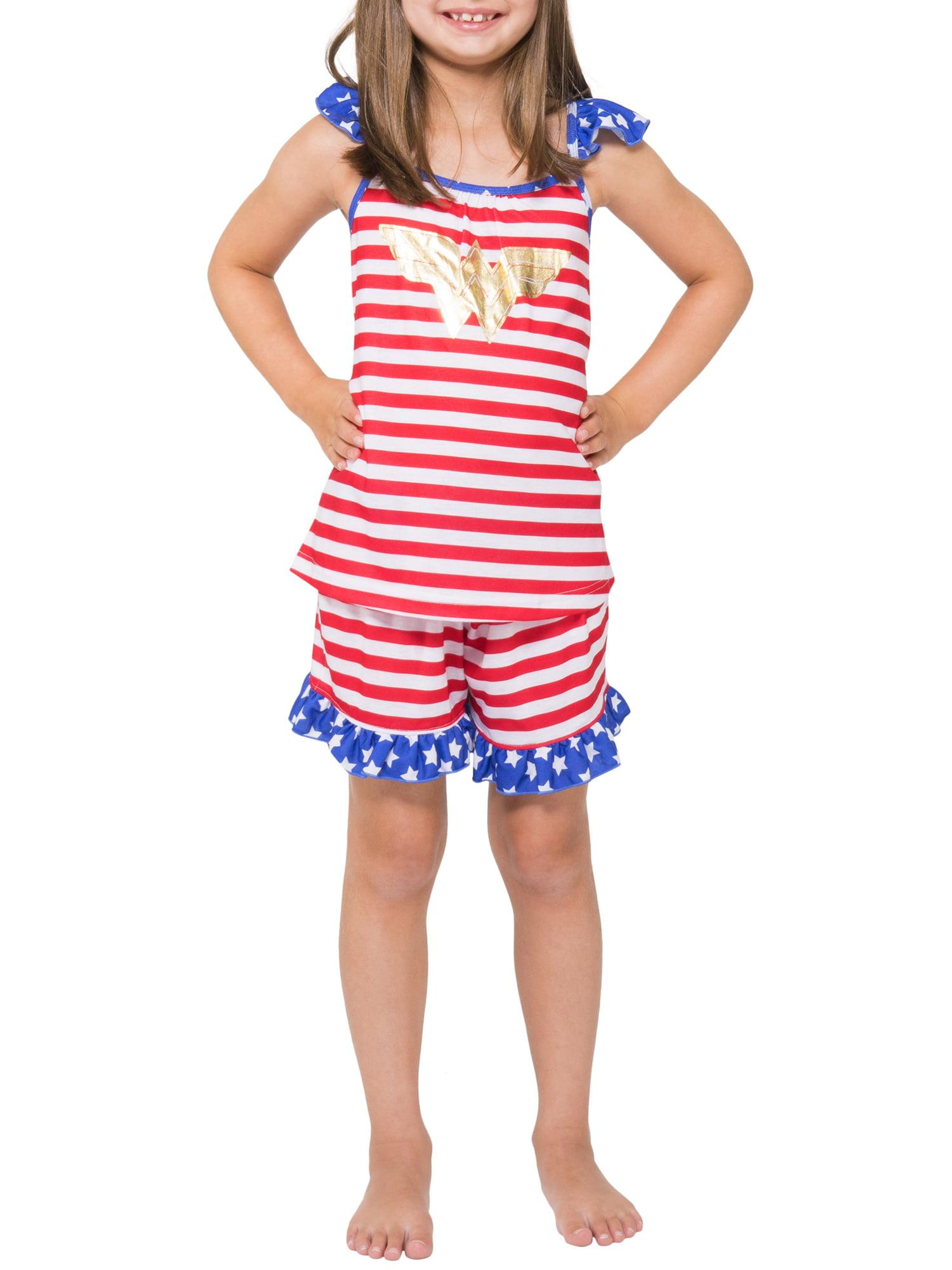 Girls' Wonder Woman USA 2 Piece Pajama Sleep Set (Little Girl & Big Girl)