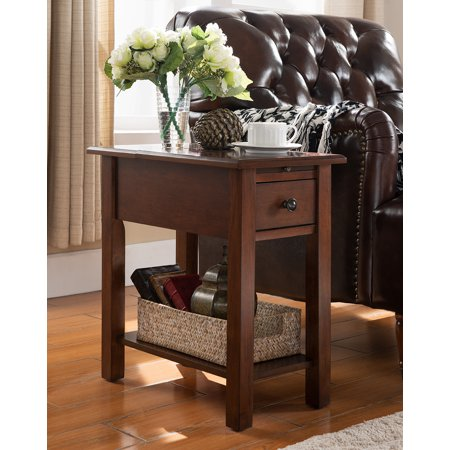 Sutton Side Table with Charging Station in Espresso Mission Side Table Finish