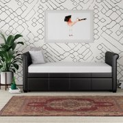 DHP Giada Upholstered Faux Leather Daybed and Trundle, Brown