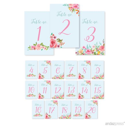 Wedding Pink Roses English Tea Party, 4 x 6-inch Table Numbers 1 - 20 on Perforated Pape