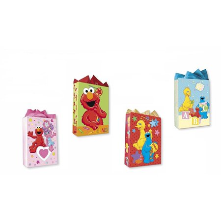 Sesame Street All Occasion Birthday Party Gift Bags Set of 4 Extra Large Jumbo Gift Bags W/ Elmo, Cookie Monster, Big Bird, Abby Cadabby, Tags, and Tissue Paper for Kids, Boys, Girls](Sesame Street Party Bags)