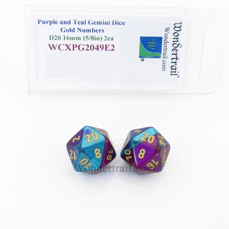 Purple and Teal Gemini Dice with Gold Numbers D20 Aprox 16mm (5/8in) Pack of 2 Wondertrail