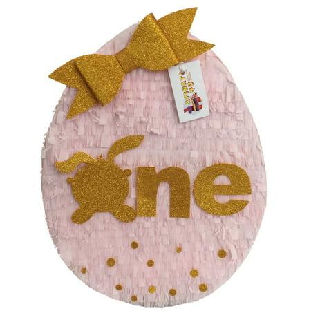 APINATA4U ONE First Birthday Easter Egg Pinata Pink and Gold](Easter Egg Pinata)