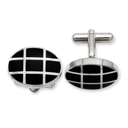 - Stainless Steel Black Plated Cuff Links Mens Cufflinks Man Link Gift For Dad Mens For Him
