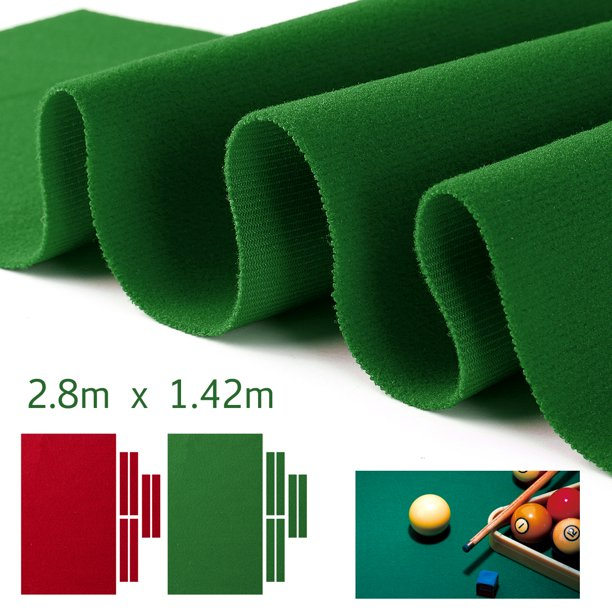 "110x55"" 9FT Snooker Pool Billiards Table Cloth Wool Nylon Pool Table Cloth Felt + 6 Felt Strips ,Green/Red"