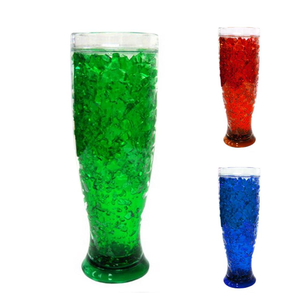 2 Pc Freezer Mug Double Wall Gel 13 Oz Pilsner Tumbler Beverage Cooling Beer Cup