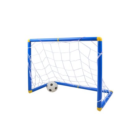Unbrand Small Size Kids Sports Toy Soccer Goals with Soccer Ball and Pump Practice Scrimmage Game - Blue + White