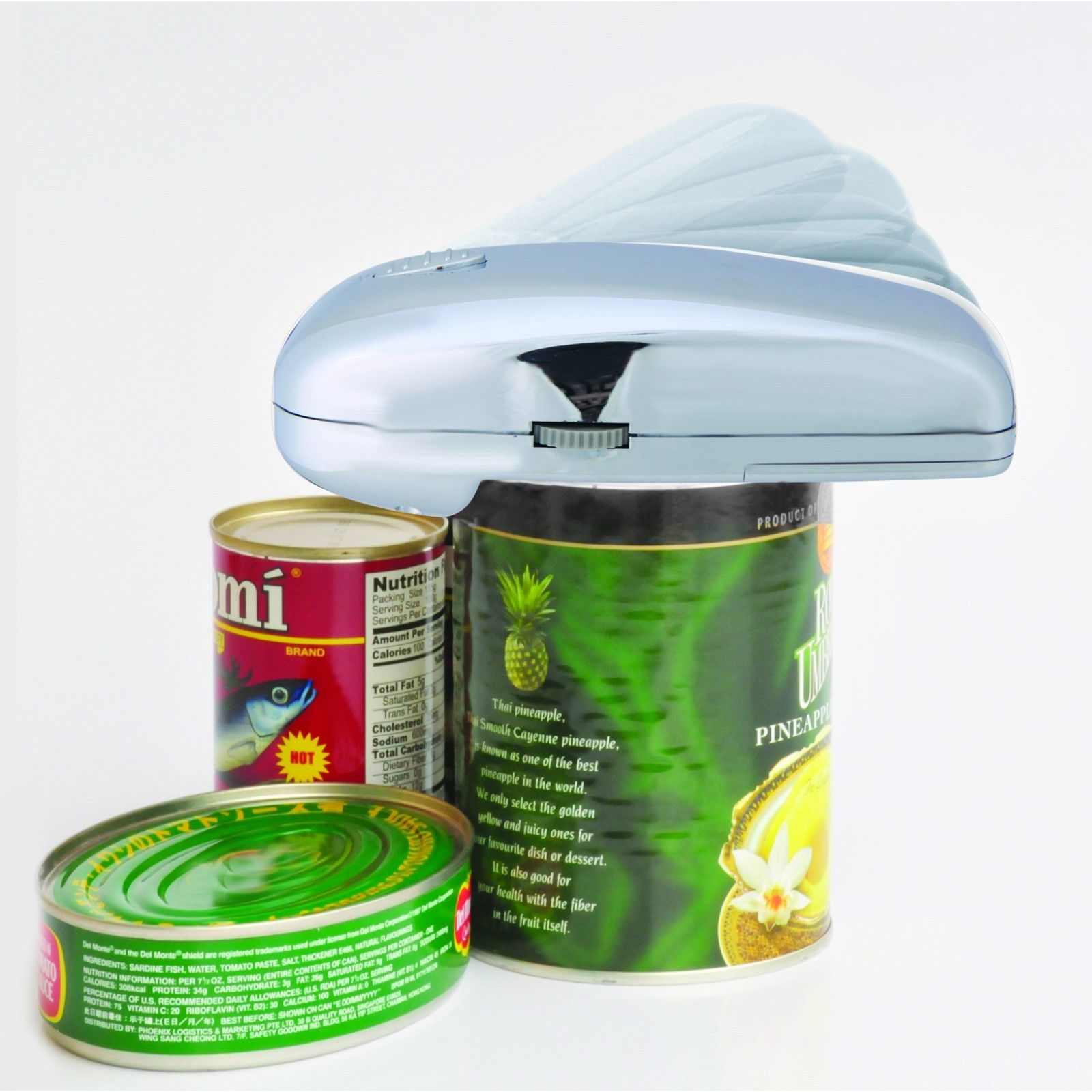 As Seen on TV Handy Can Opener Chrome Automatic One Touch Battery Operated by TV Direct