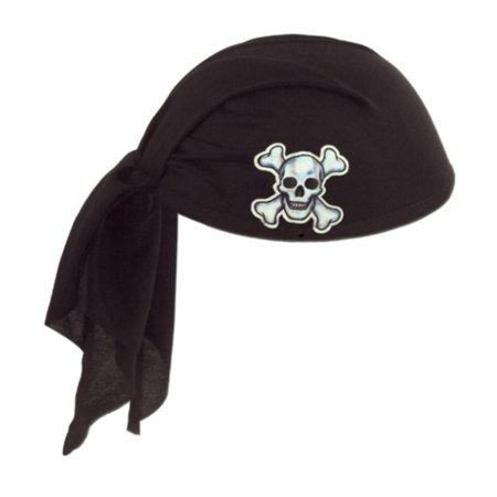 Club Pack of 12 Black Pirate Scarf Hat with Skull and Crossbones - Child Size (Pirate Hat Skull Crossbones)