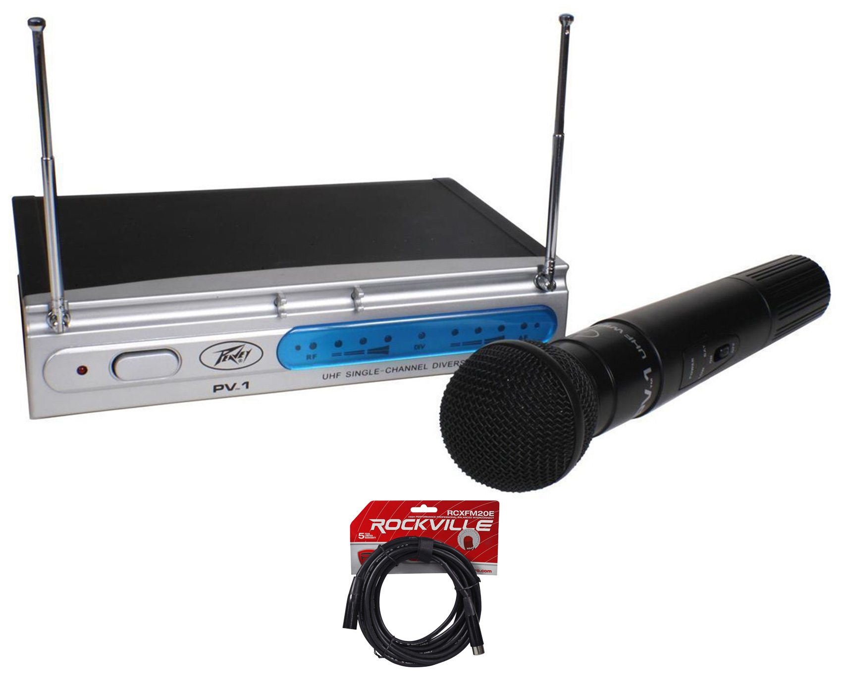 Peavey PV-1 U1 HH 911.70MHZ UHF Wireless Handheld Microphone System+XLR Cable by Peavey