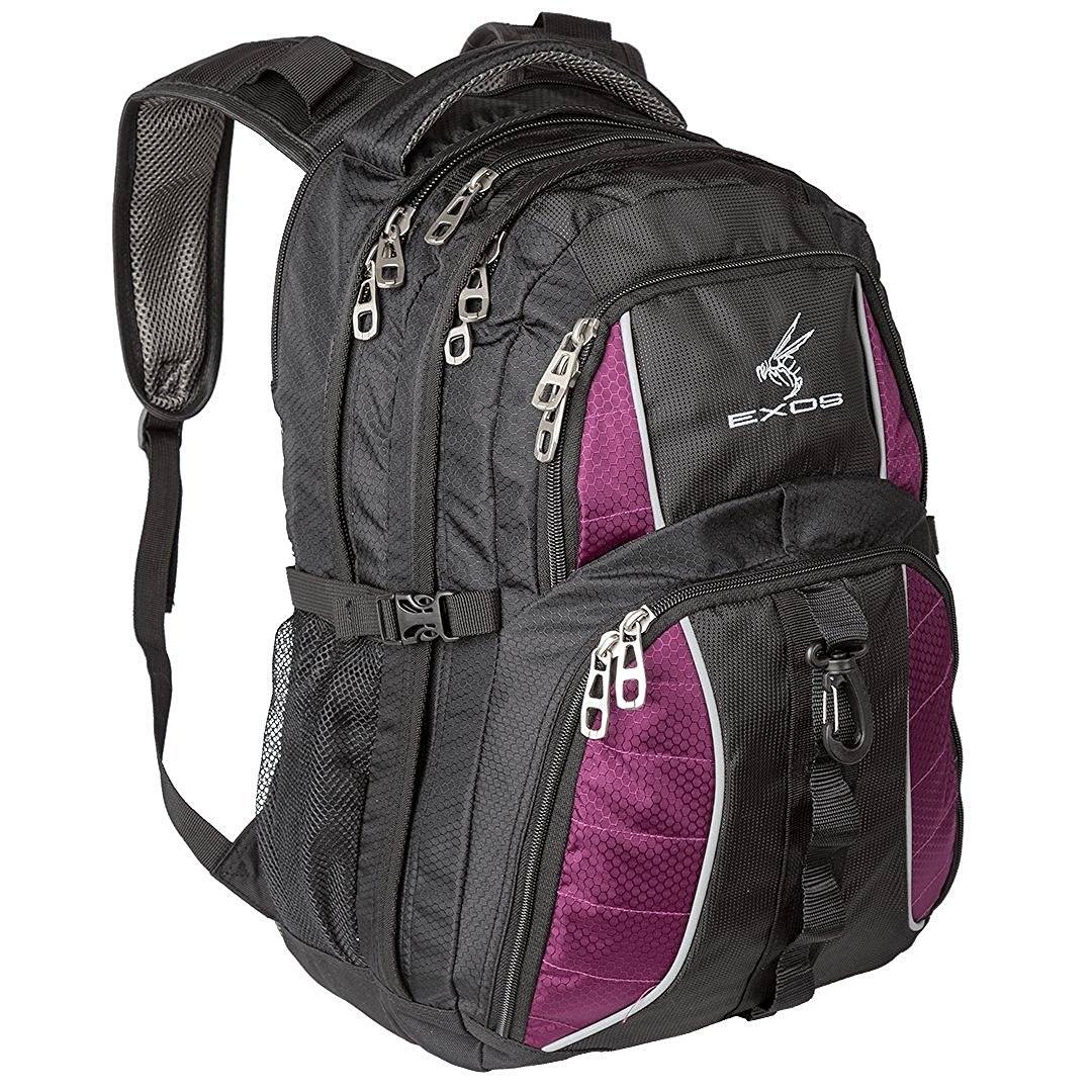 Backpack, (laptop, travel, school or business) Urban Commuter by EXOS (Black/Purple)
