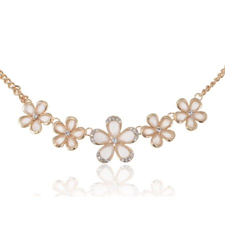 Exquisite Golden Tone Clear Crystal Rhinestone Flower Collar Fashion Necklace