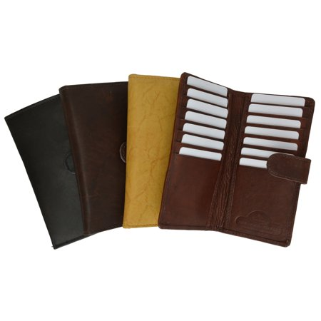 Slim Checkbook Cover Credit Card Slots Secure by Button Closure Genuine Leather 1507 CF (C) (Best Secured Credit Card After Chapter 13)