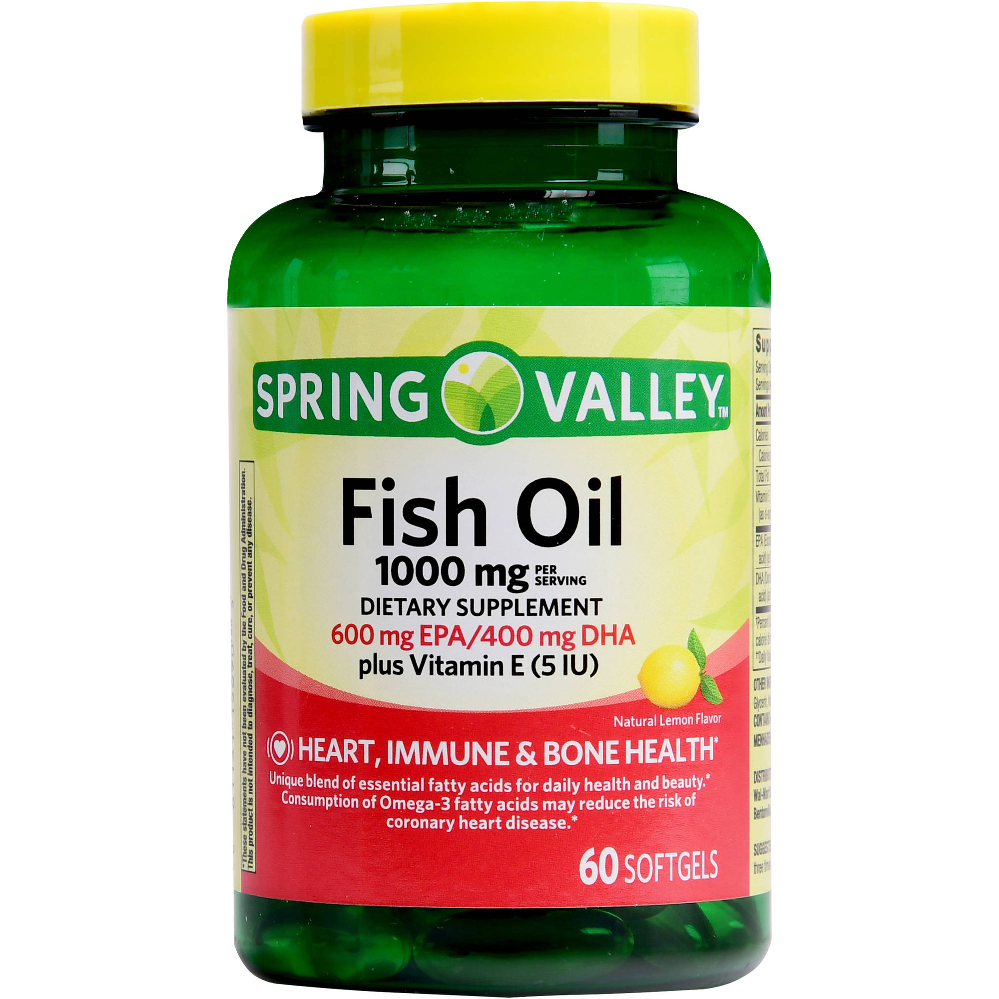Spring Valley Fish Oil Plus Vitamin E, 1000mg, 60ct