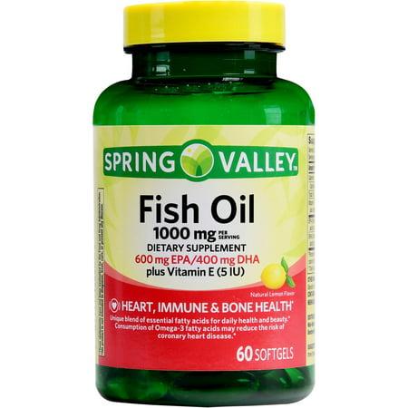 Spring valley fish oil plus vitamin e 1000mg 60ct for Vitamin e and fish oil