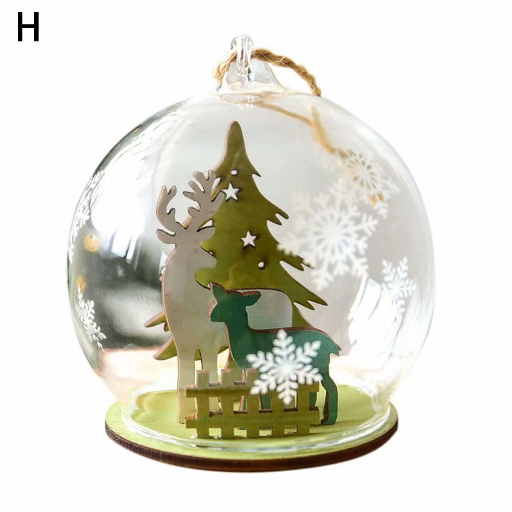 Christmas Ball Ornament Clear Glass Bauble Xmas Decoration Pendant Wedding DIY party Event Memory ball Glass ball Christmas decoration pendant