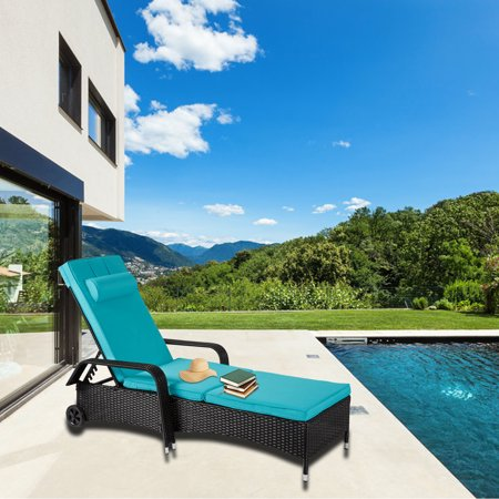 Kinbor Outdoor Recliner Black PE Wicker Patio Chaise Lounge Chair Furniture w/Sliding Tray ()