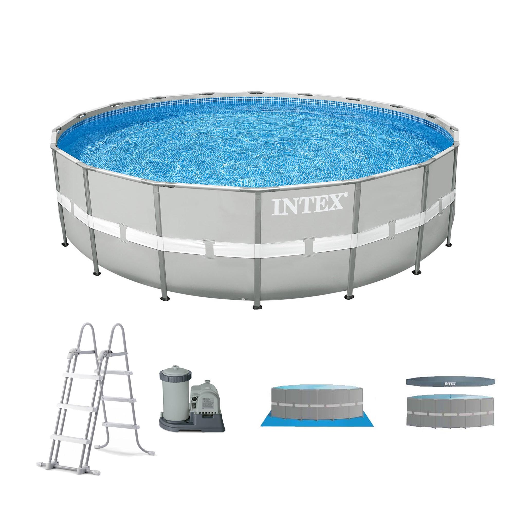 "Intex 20' x 48"" Ultra Frame Above Ground Swimming Pool Set w  Pump and Ladder by Intex"
