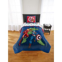 Marvel Avengers 'Hero Time' 2 Piece Twin/Full Reversible Comforter and Sham Set feat. The Hulk, Captain America, and Iron Man
