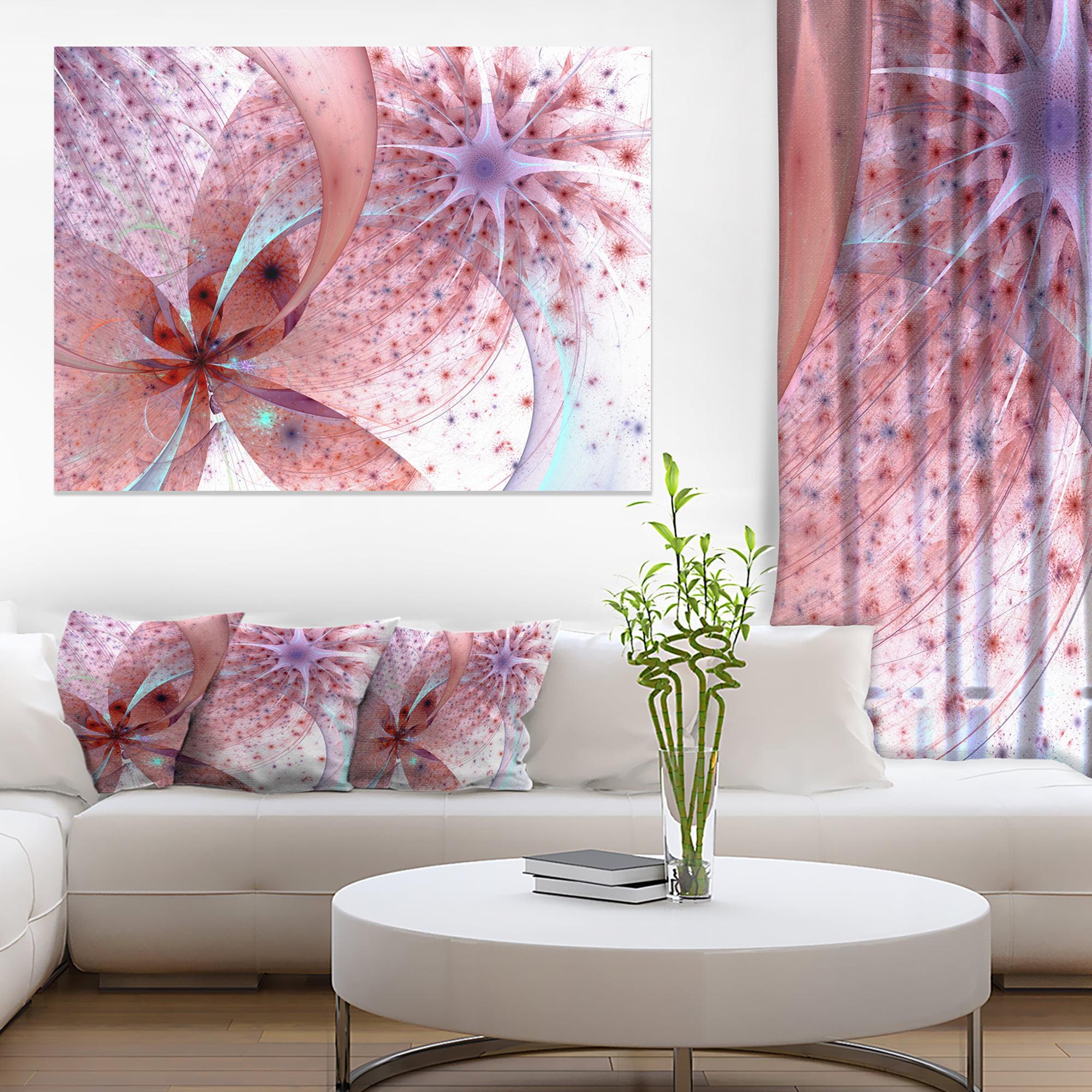 Red and Blue Symmetrical Fractal Flower - Floral Canvas Art Print - image 3 de 3